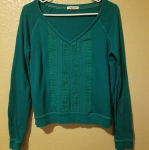 Lace Front Long Sleeve Top